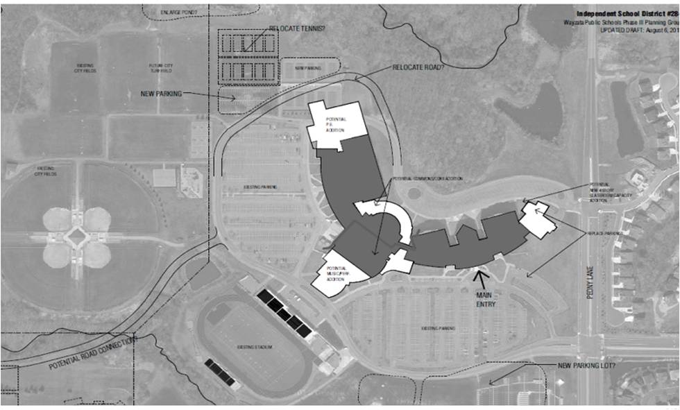 Ariel view of proposed high school additions